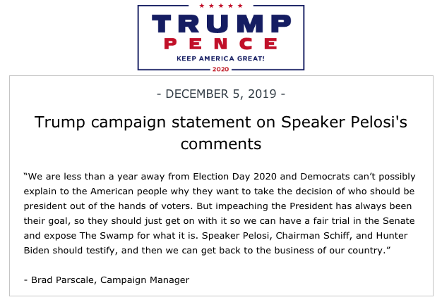 Trump campaign statement on Speaker Pelosi