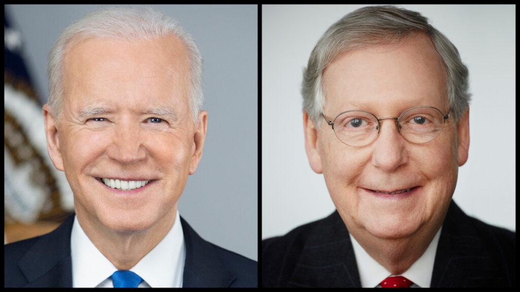 President Joe Biden (Official Portrait) and Senate Minority Leader Mitch McConnell (Official Portrait)